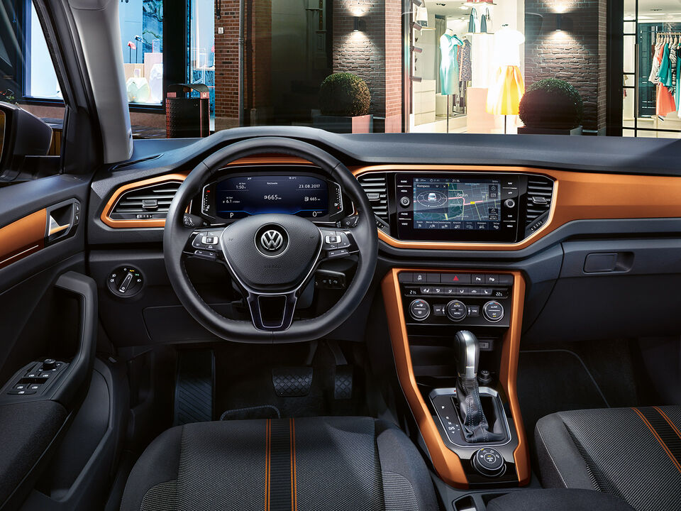 vw volkswagen t-roc design orange interieur
